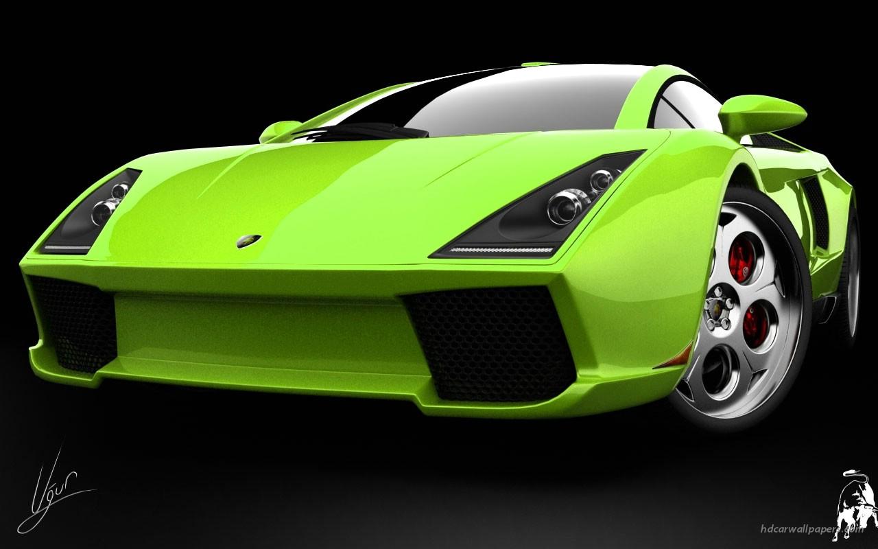 спортивный зеленый автомобиль Lamborghini  № 2996289 бесплатно