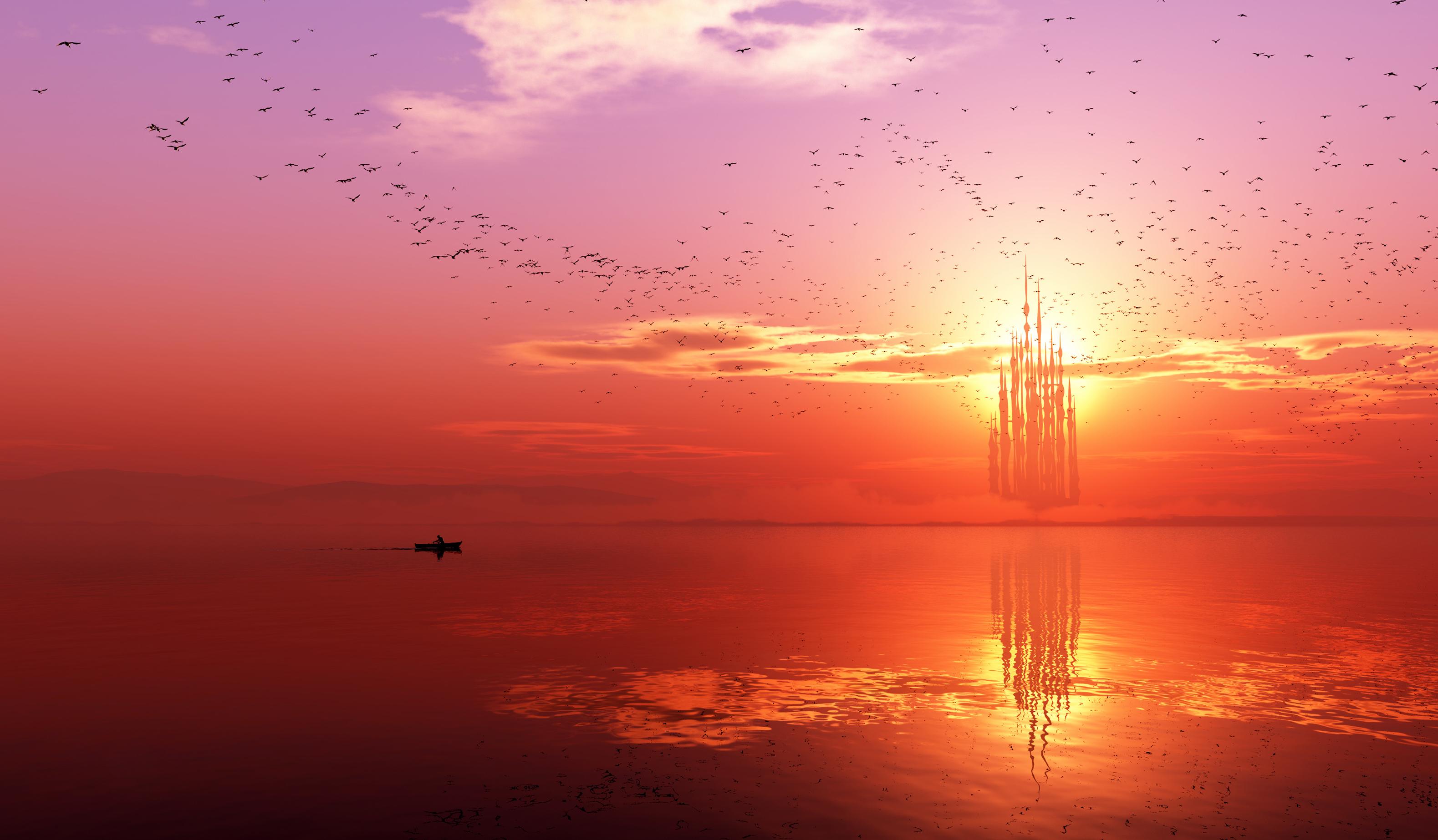 вертолет солнечный закат море загрузить