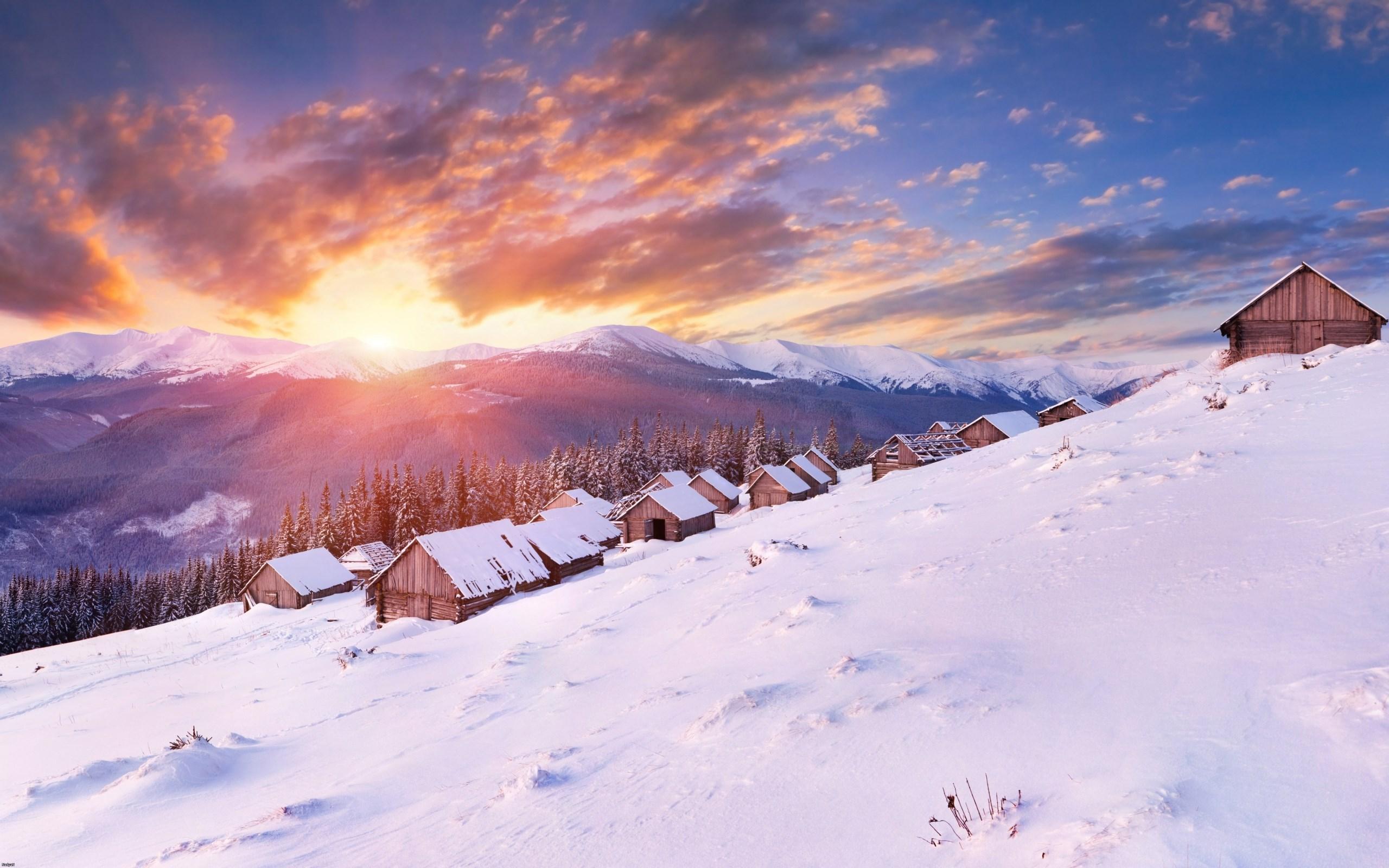 природа солнце горы скалы снег вечер без смс