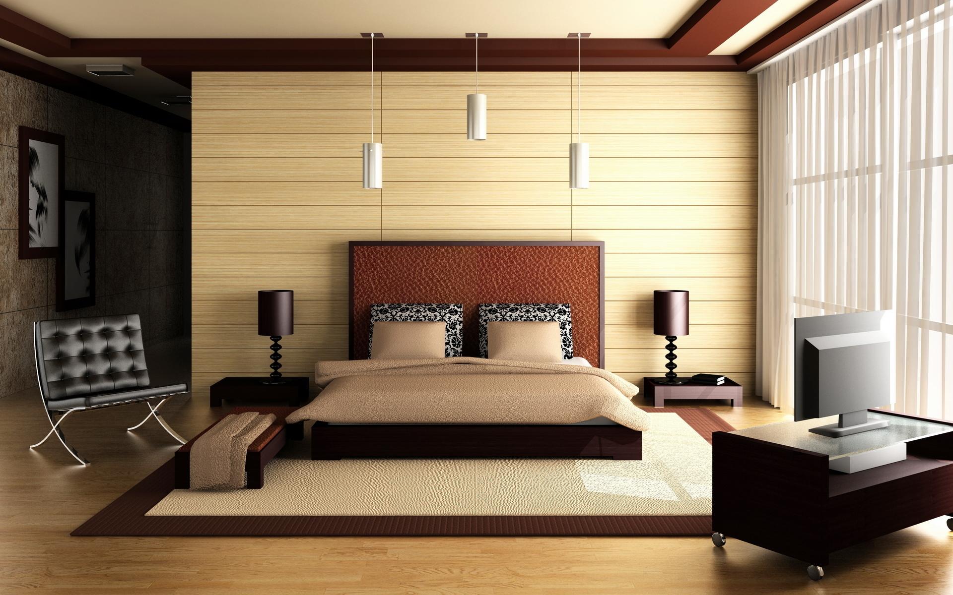 Интерьер спальня комната кровать  № 3537152  скачать
