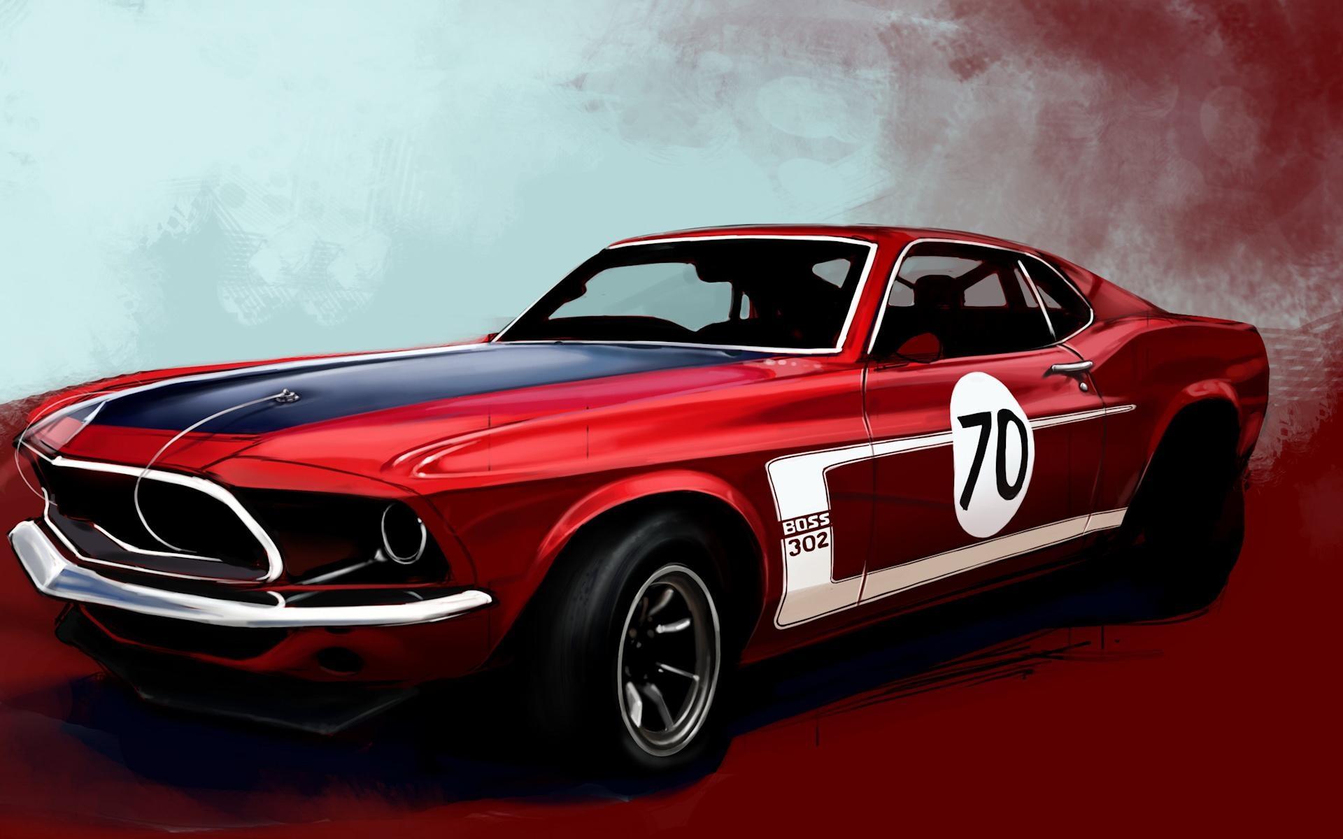 Ford Mustang гоночный красный тюнинг скачать