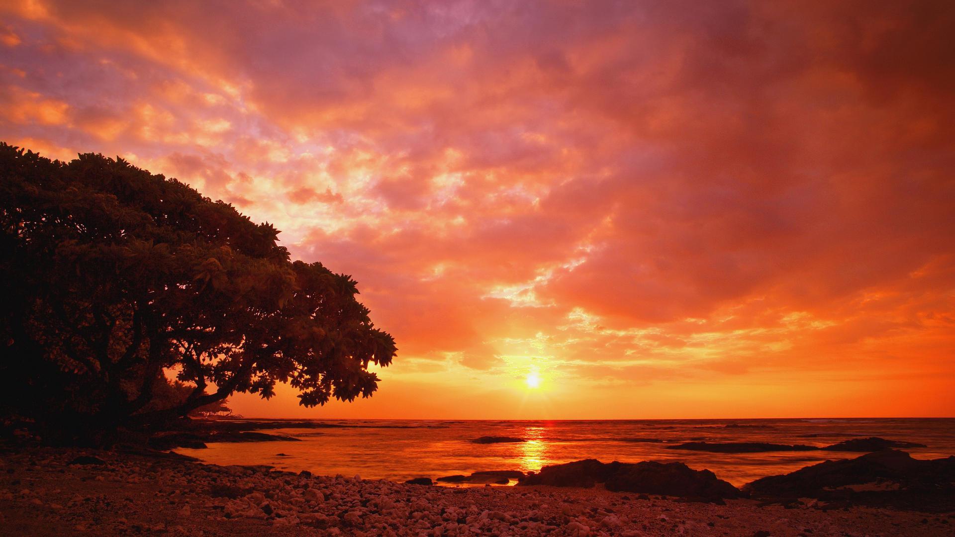 красочный закат над морем  № 1258710 бесплатно