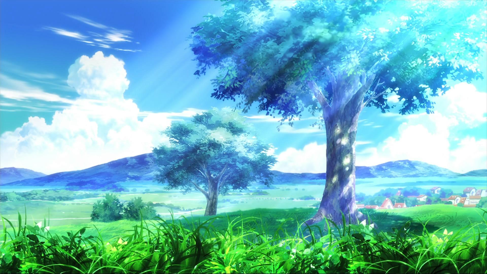 аниме, закат, цветочная поляна бесплатно
