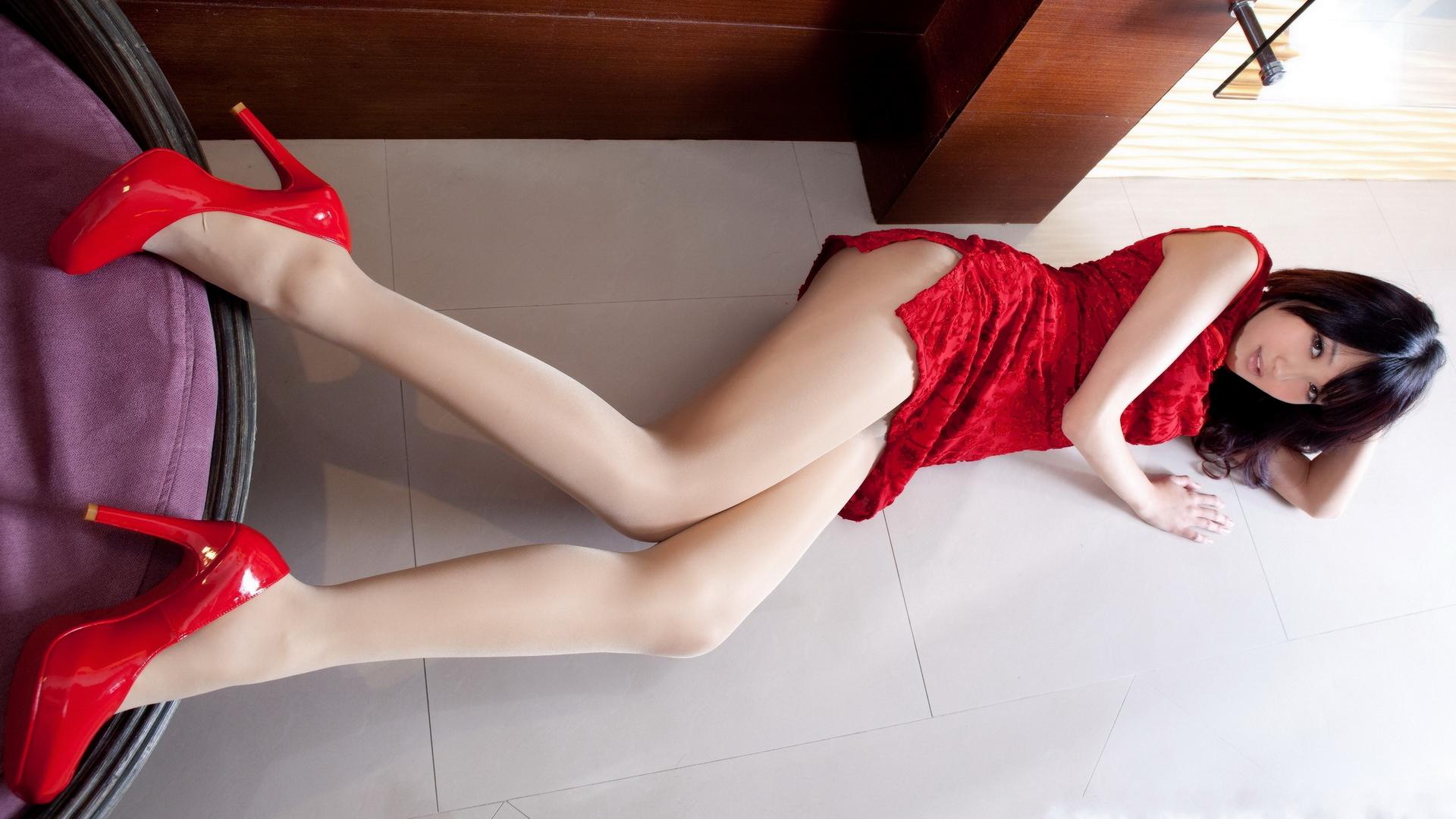 Sexy long legs beautiful asian woman stock photo