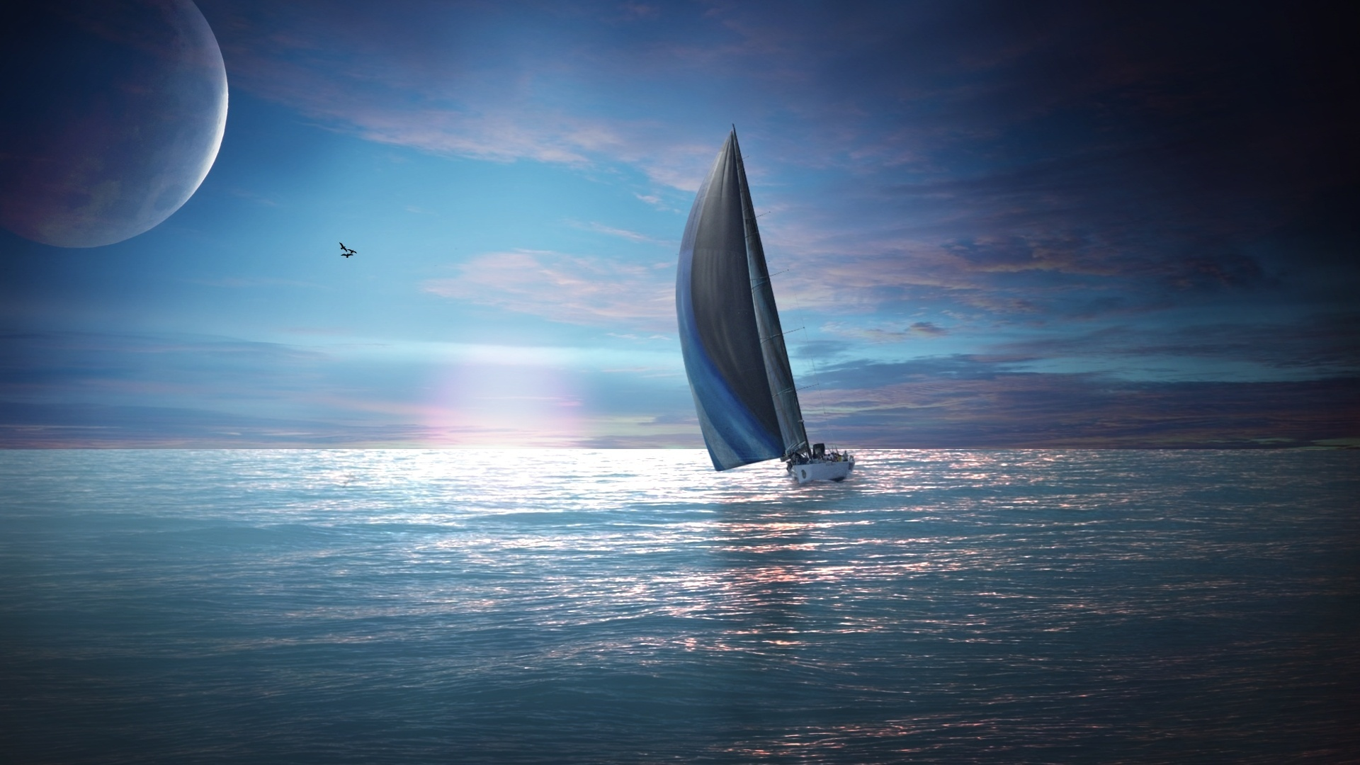 открытое море с яхтами загрузить