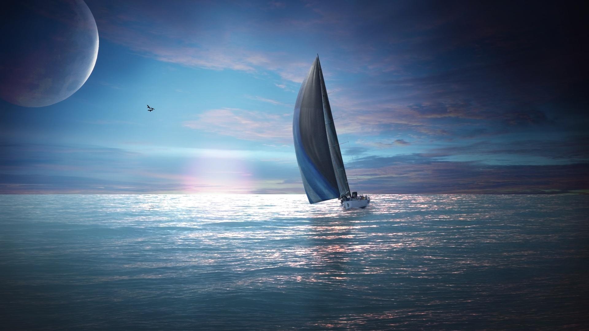 корабль паруса небо море анонимно