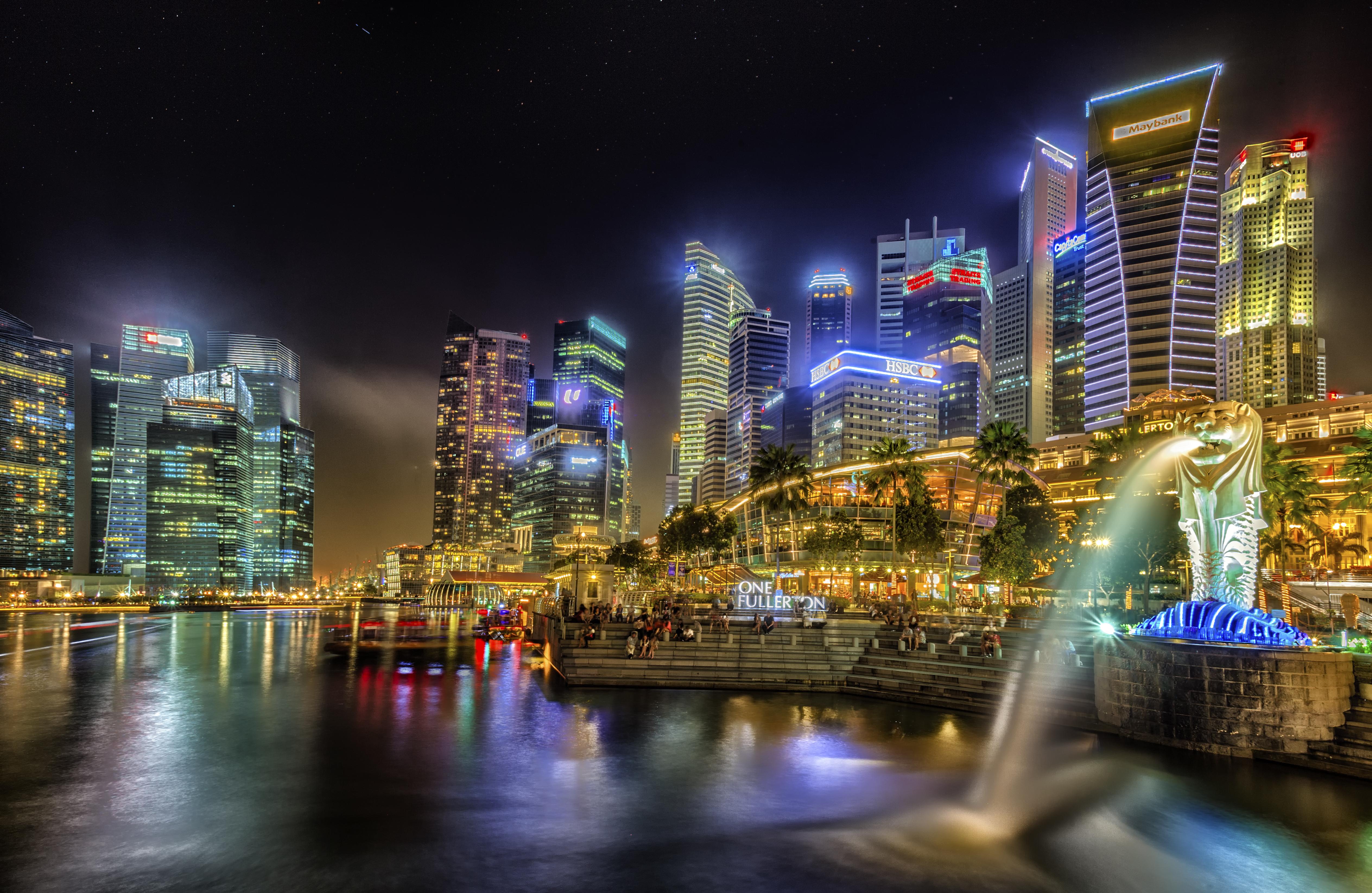 страны архитектура Сингапур ночь  № 1476106 бесплатно