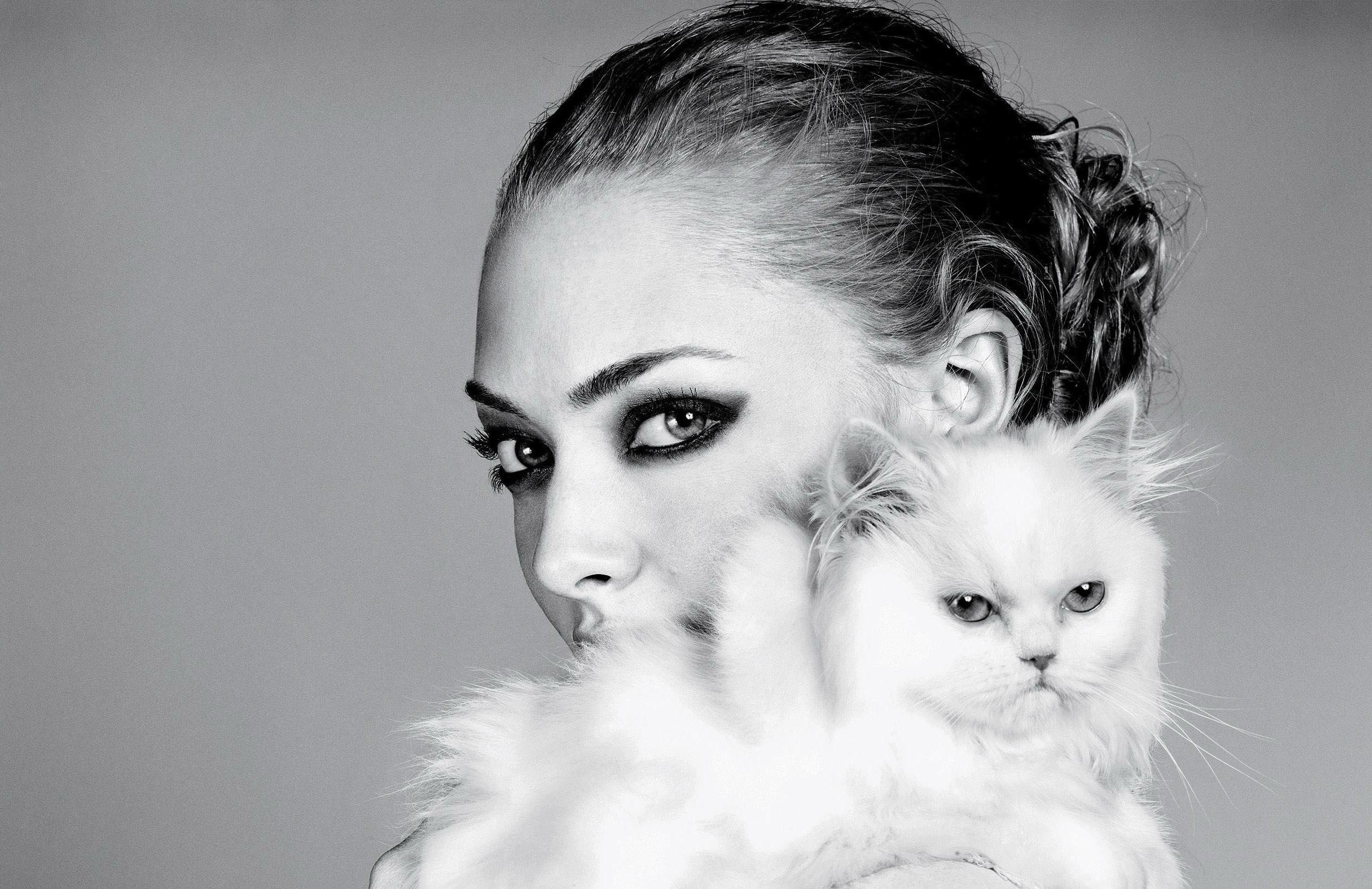 Днем байкера, открытка девушка кошка