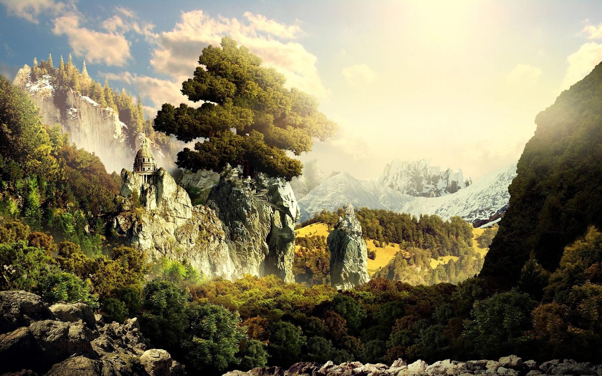 Замок у вершины горы скачать