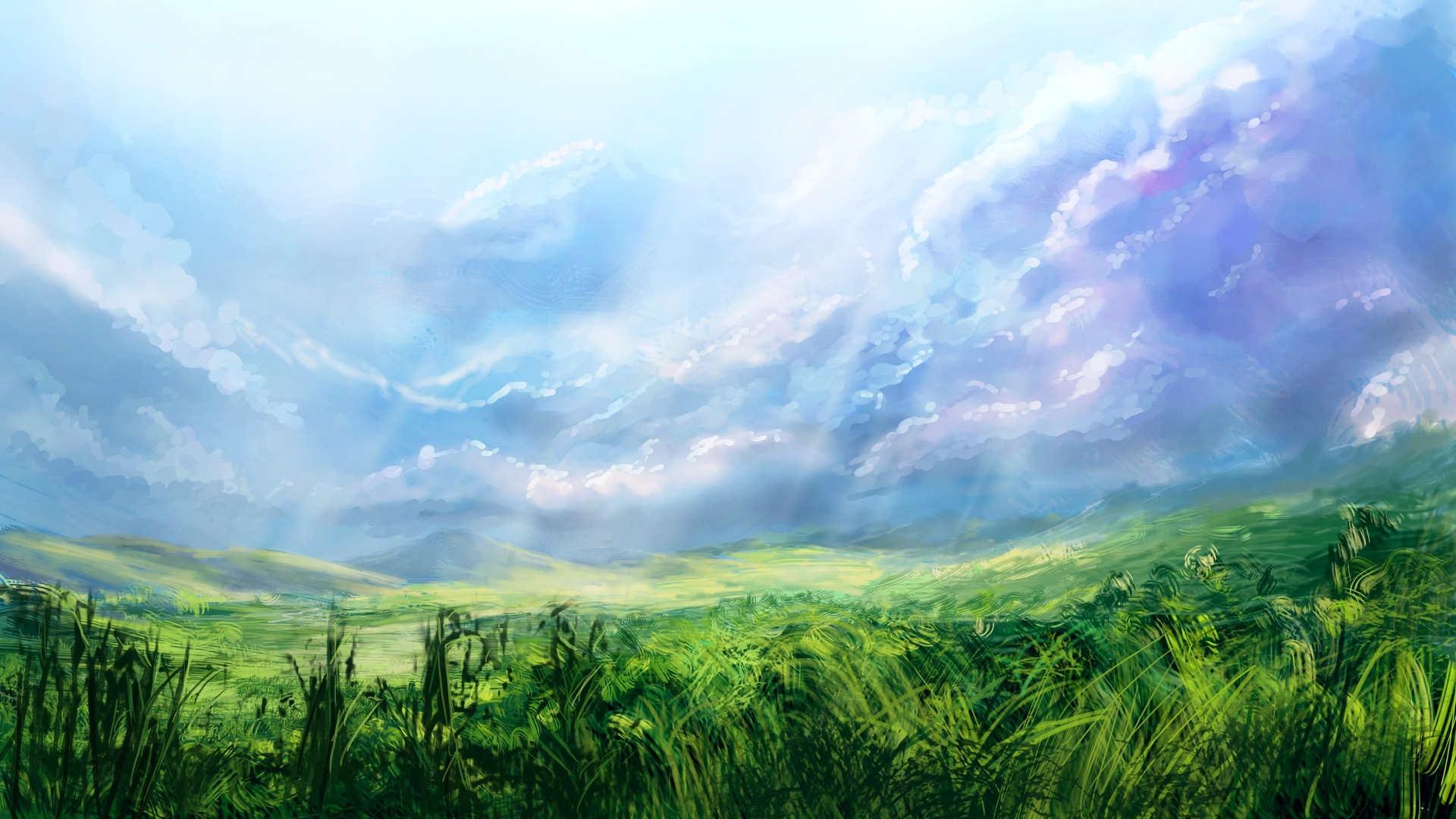 природа трава облака небо камни в хорошем качестве