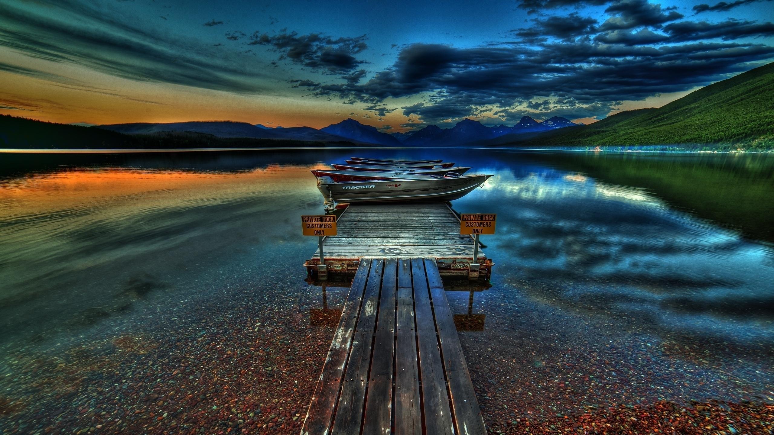 Причал озеро закат небо скачать