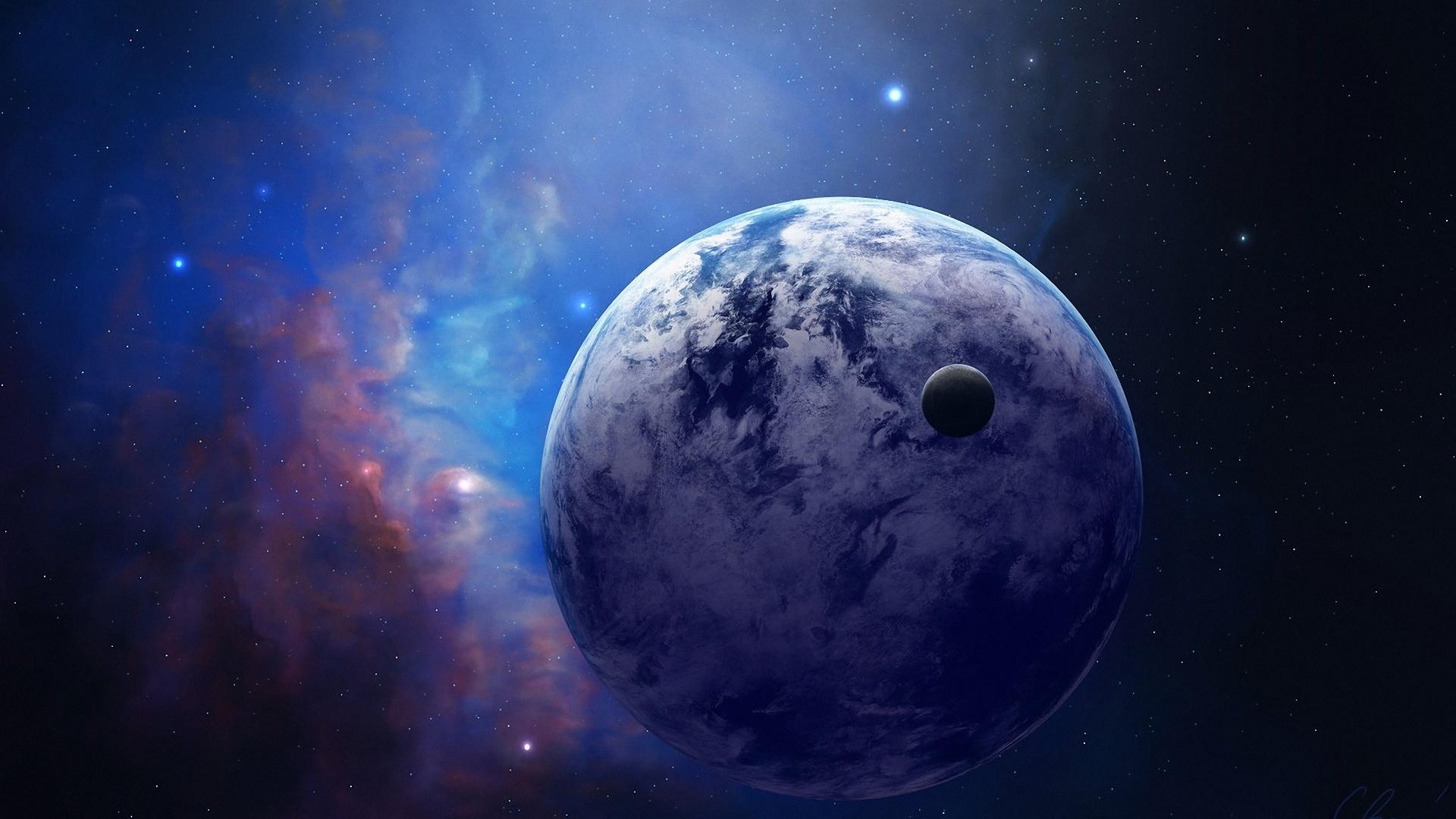 Обои Планета и спутник картинки на рабочий стол на тему Космос - скачать  № 43087 без смс