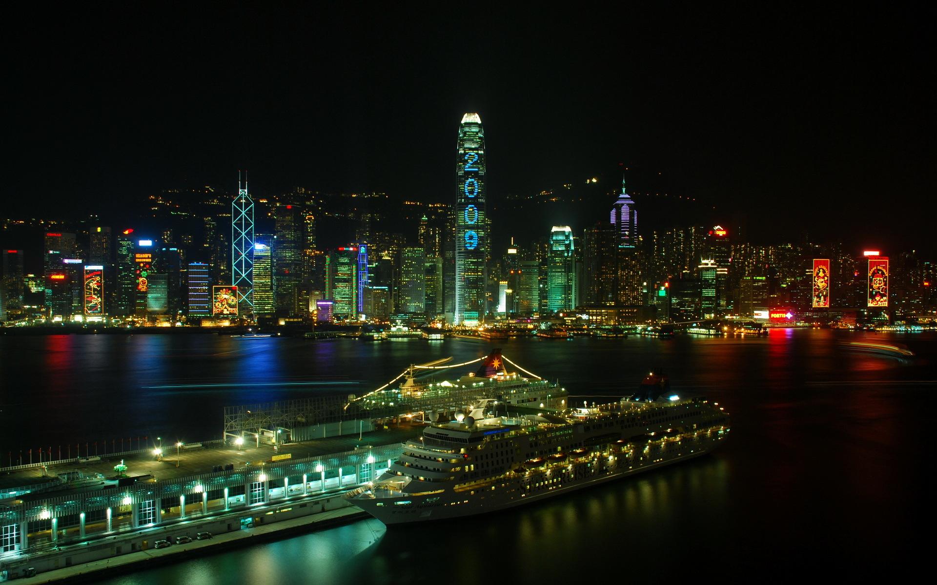 страны архитектура ночь Гонконг  № 1481707 без смс