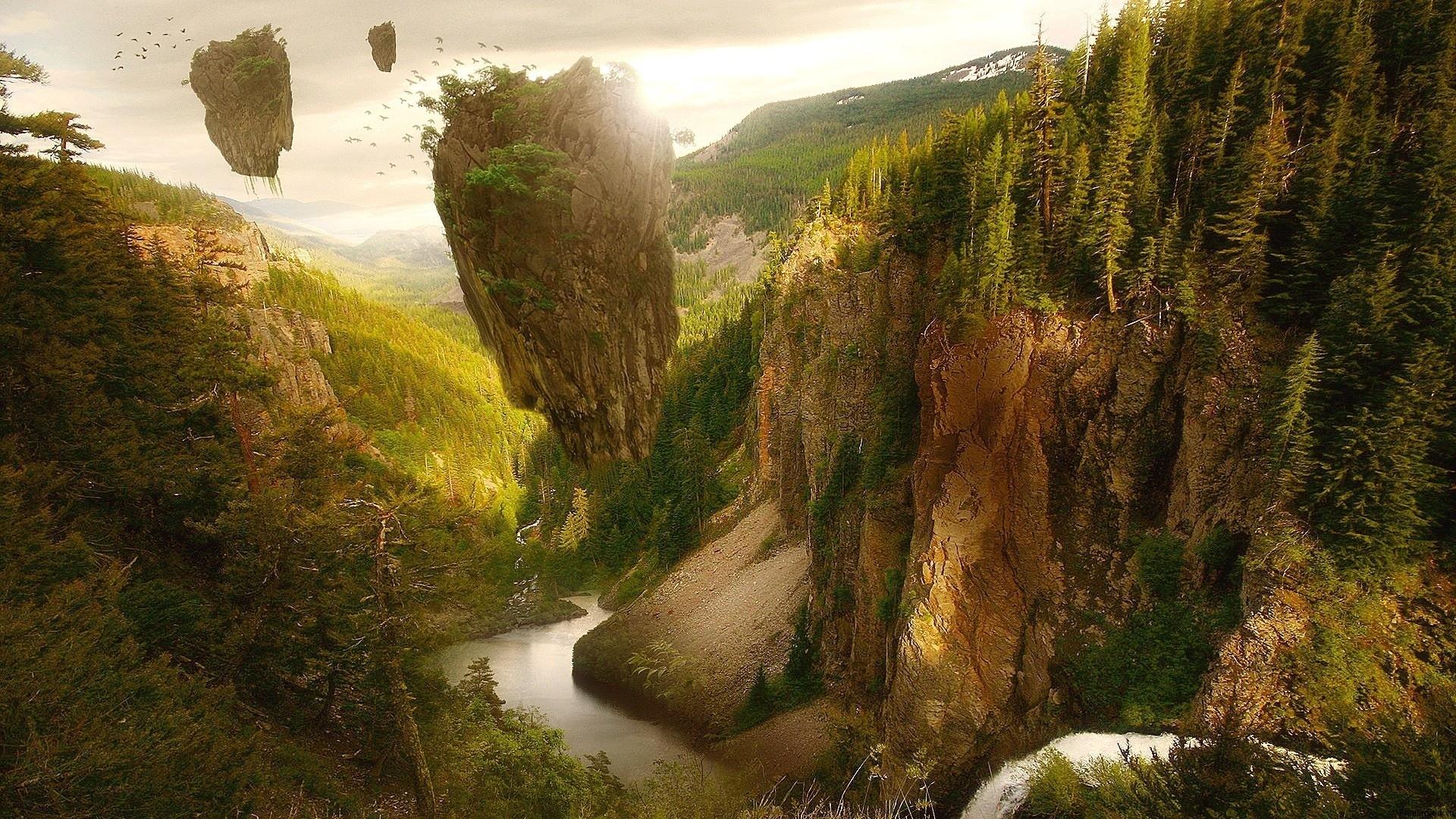 остров арт дерево река в хорошем качестве