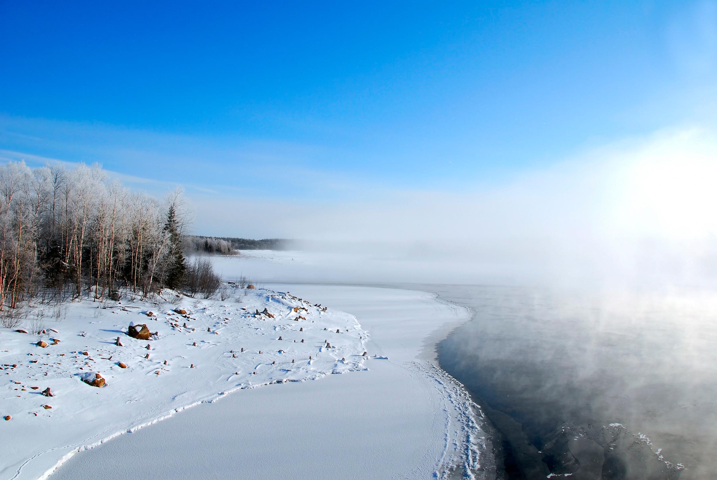 озеро зима иней the lake winter frost  № 580125  скачать