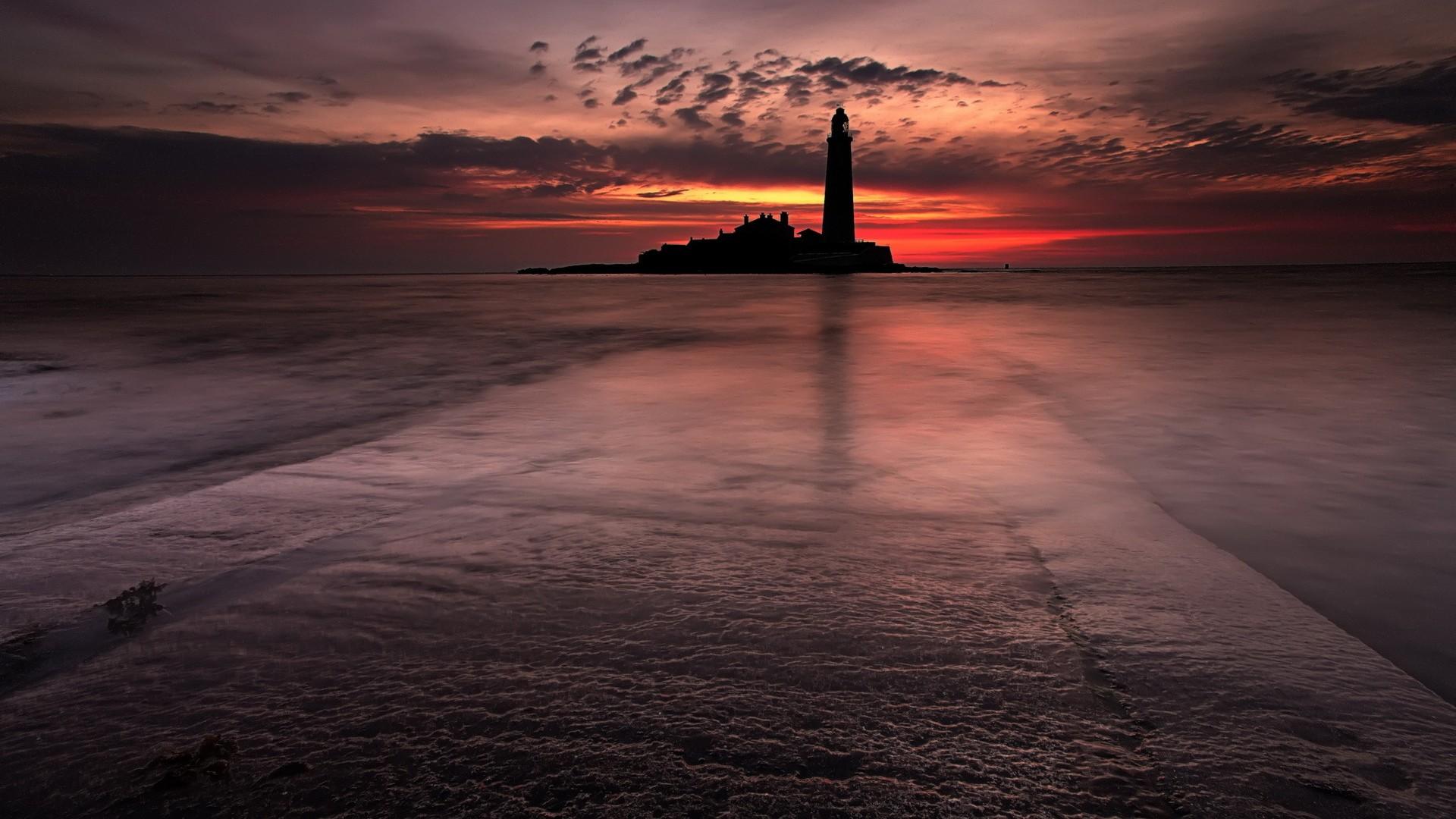 закат маяк море  № 1019930 бесплатно